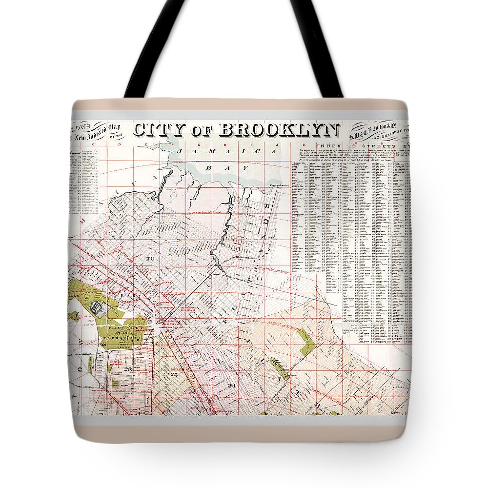Brooklyn Map Tote Bag featuring the photograph Brooklyn 1893 Map by Rospotte Photography