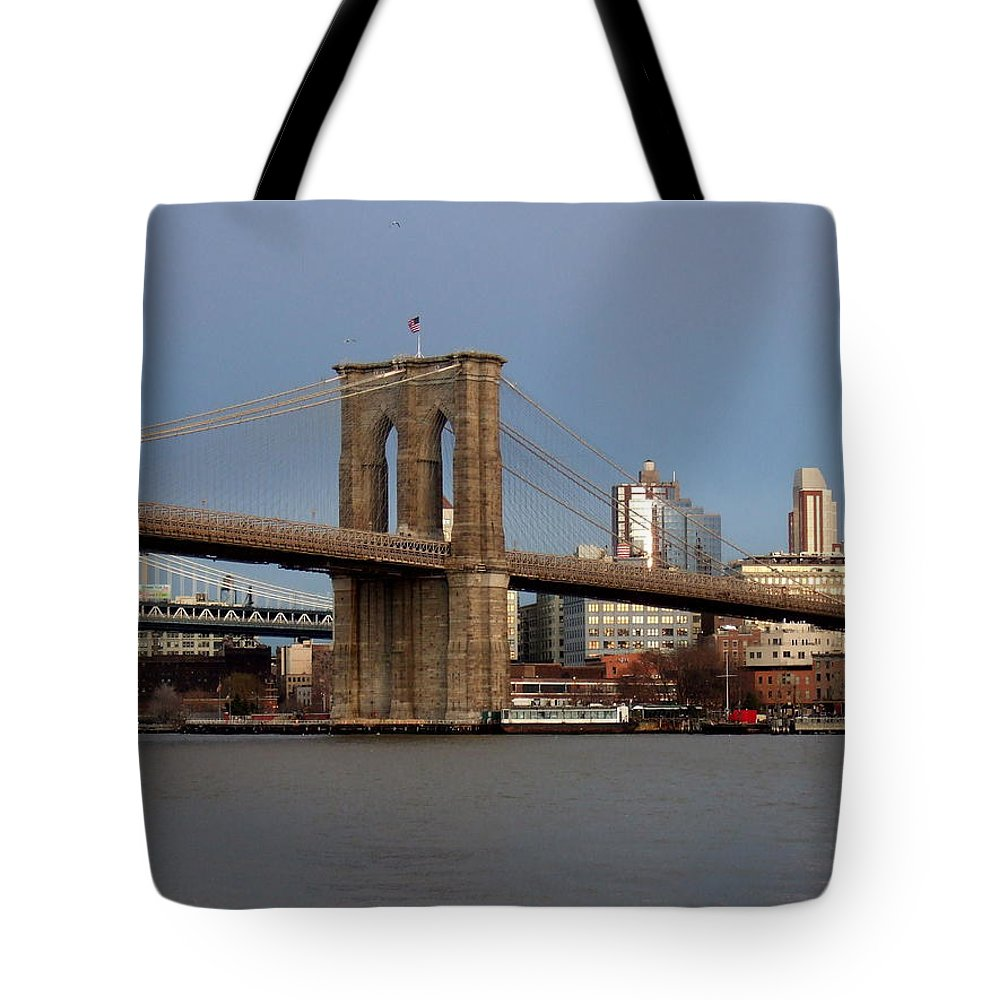 Brooklyn Bridge Tote Bag featuring the photograph Brooklyn Bridge by Anita Burgermeister