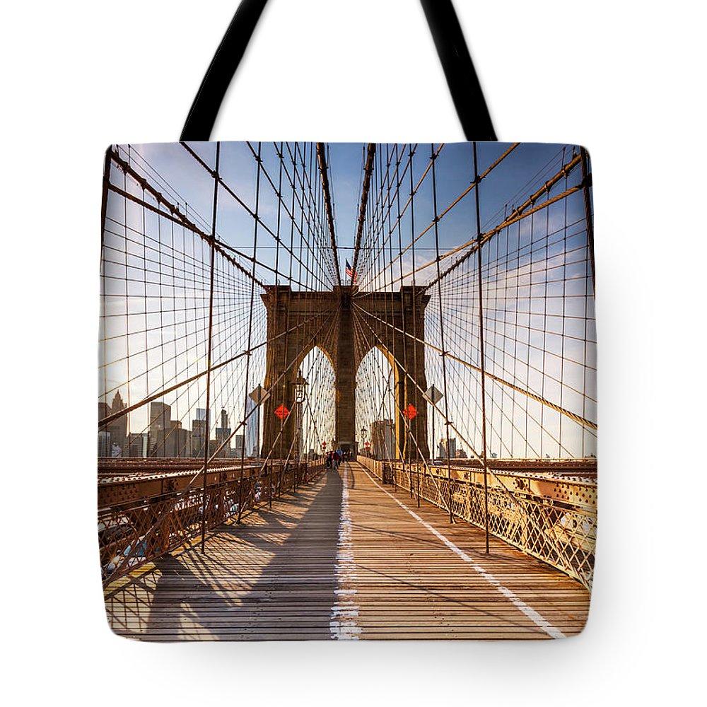 Brooklyn Bridge Tote Bag featuring the photograph Brooklyn Bridge At Sunset, New York, Usa by Matteo Colombo