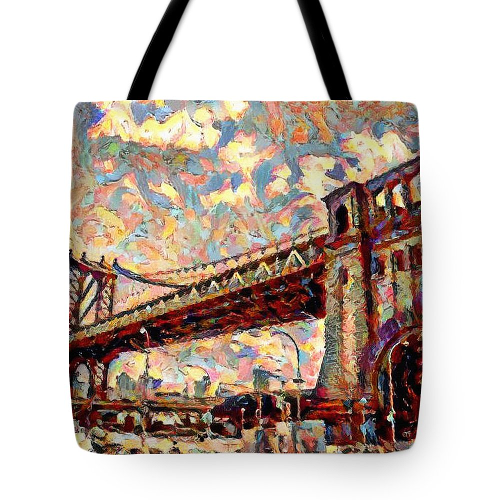 Brooklyn Tote Bag featuring the painting Brooklyn Bridge Watercolor by Bill Cannon