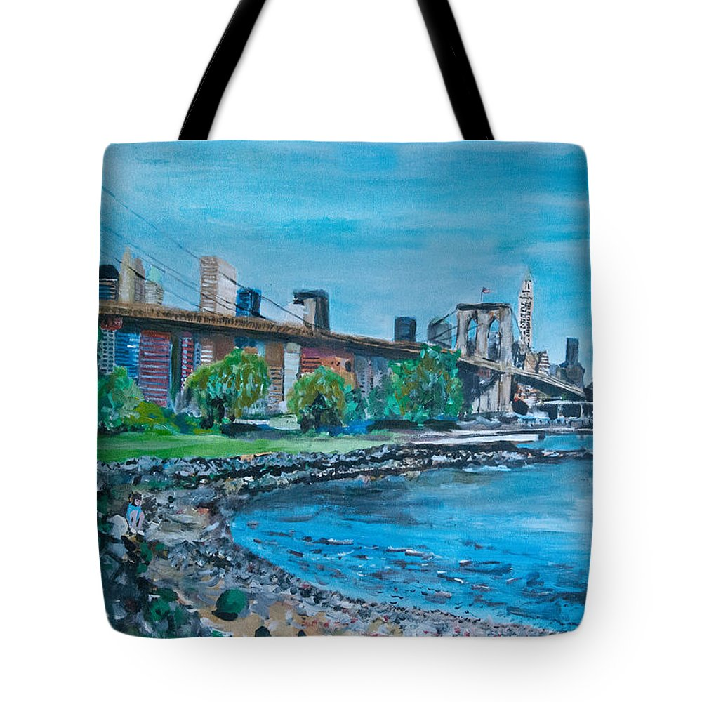 Street Scene Tote Bag featuring the painting Brooklyn Bridge by Wayne Pearce