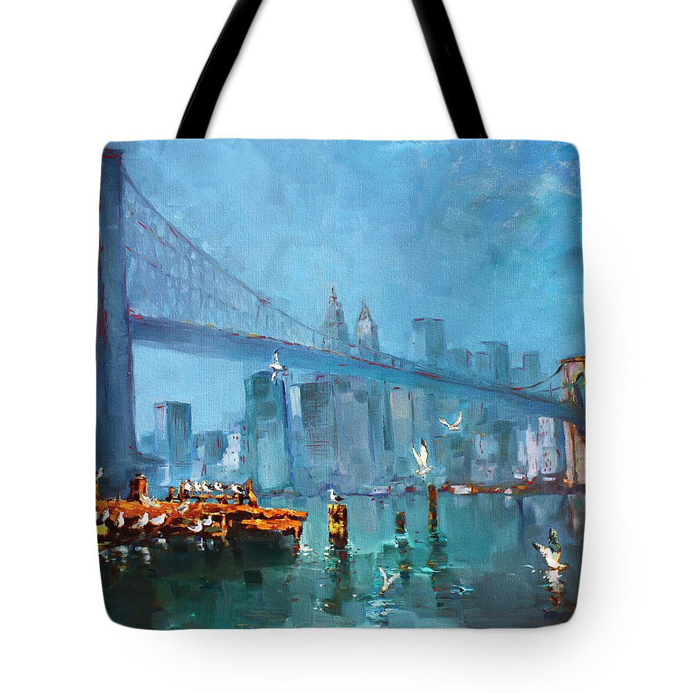 Landscape Tote Bag featuring the painting Brooklyn Bridge by Ylli Haruni