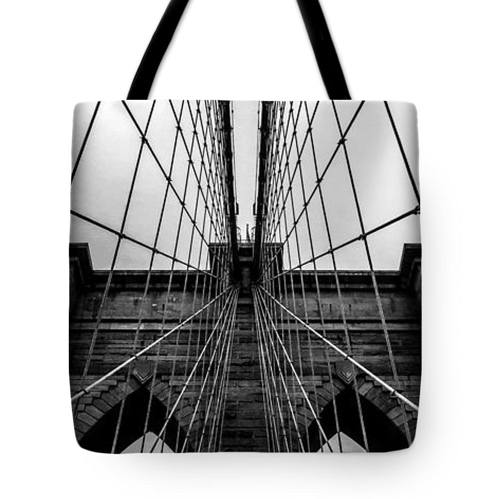 Brooklyn Bridge Tote Bag featuring the photograph Brooklyn's Web by Az Jackson