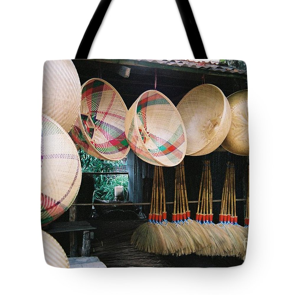 Baskets Tote Bag featuring the photograph Brooms And Baskets by Mary Rogers