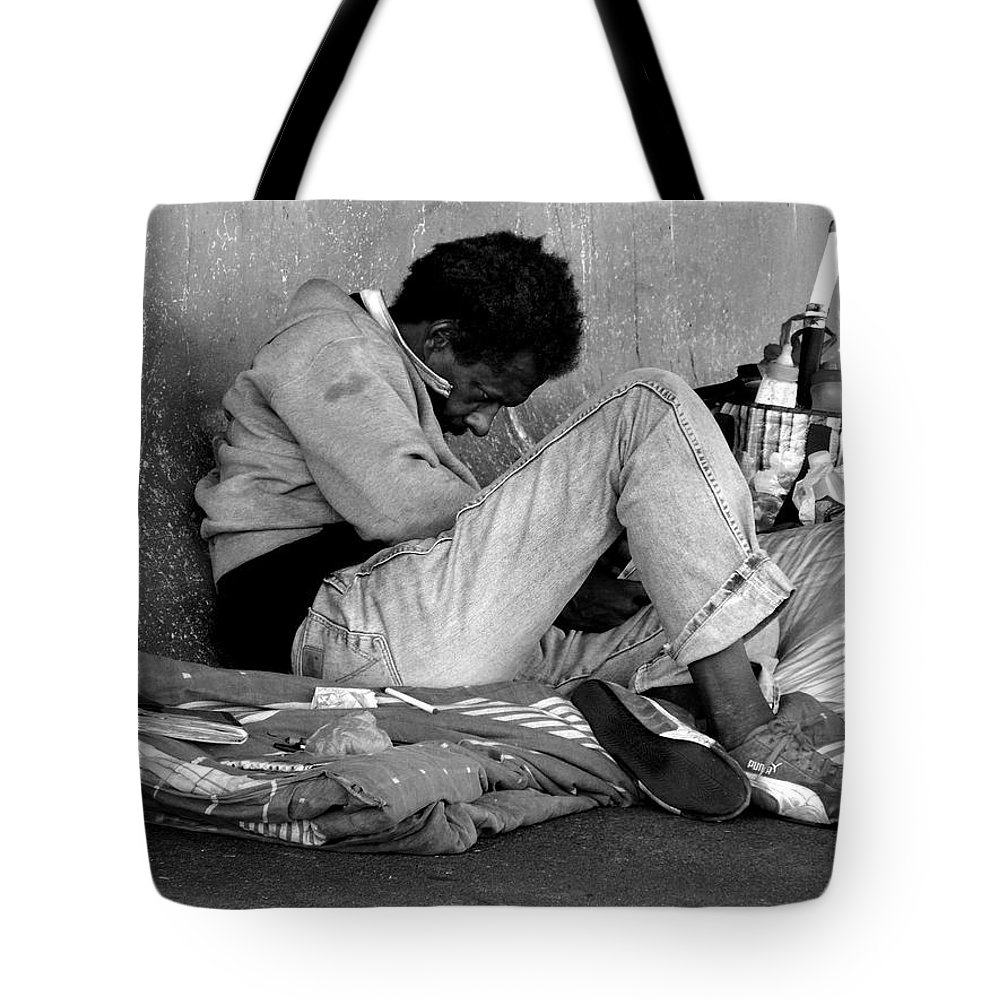 Homeless Tote Bag featuring the photograph Brother Can You Spare A Dime by Kendall Eutemey