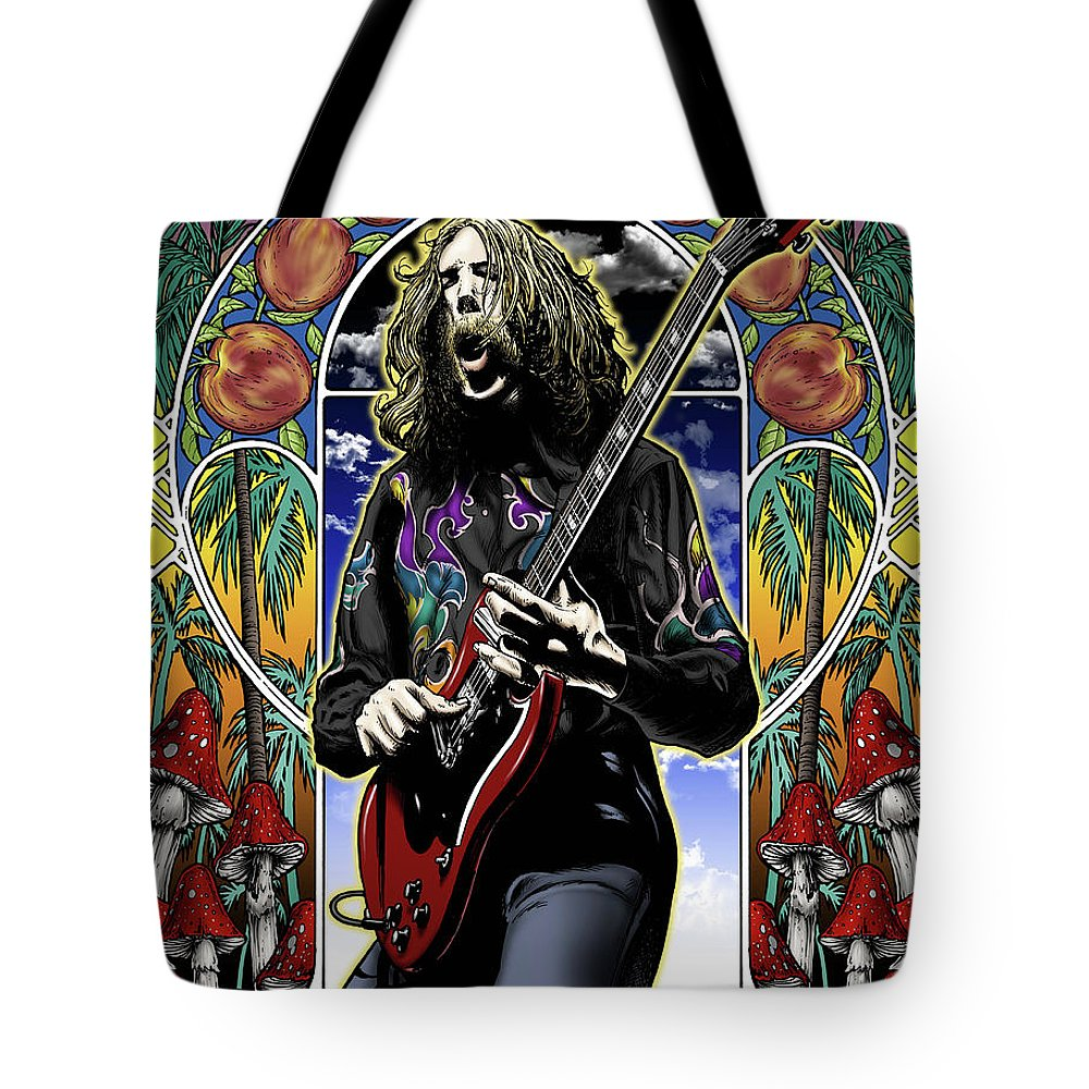 Duane Allman Tote Bag featuring the drawing Brother Duane by Gary Kroman