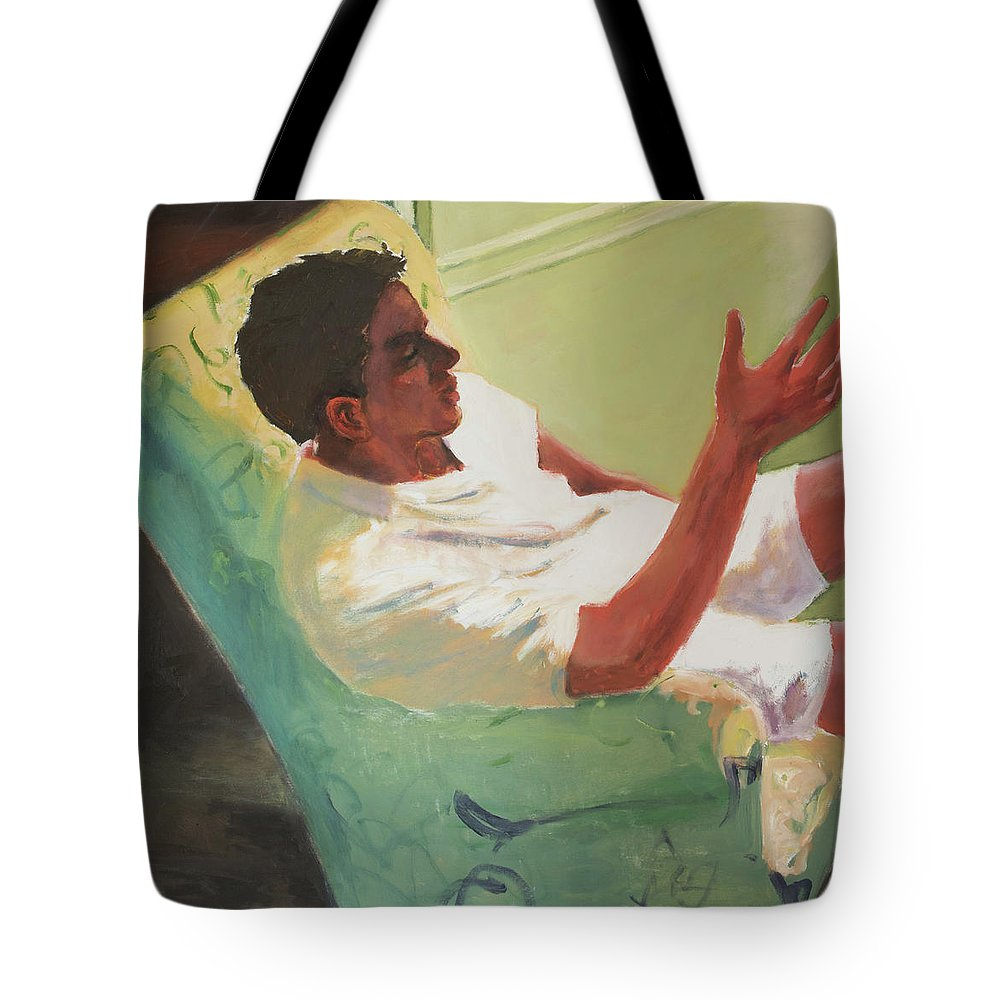 Young Man Tote Bag featuring the painting Brother Of Summer by Craig Newland