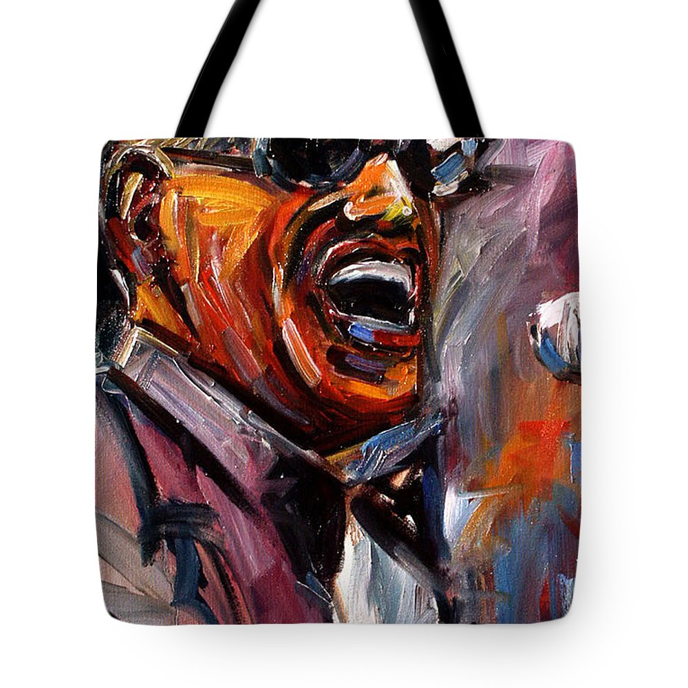Jazz Art Tote Bag featuring the painting Brother Ray by Debra Hurd