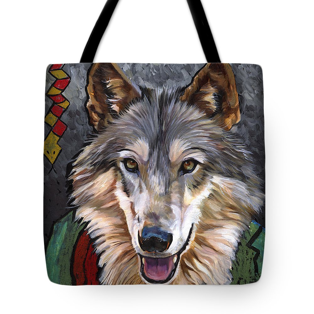 Wolf Tote Bag featuring the painting Brother Wolf by J W Baker