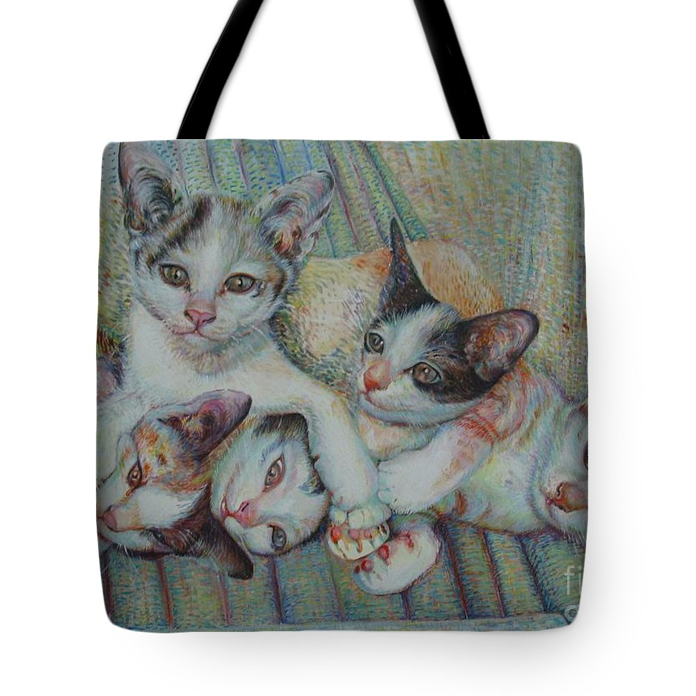 Cats Tote Bag featuring the painting Brothers And Sisters by Sukalya Chearanantana