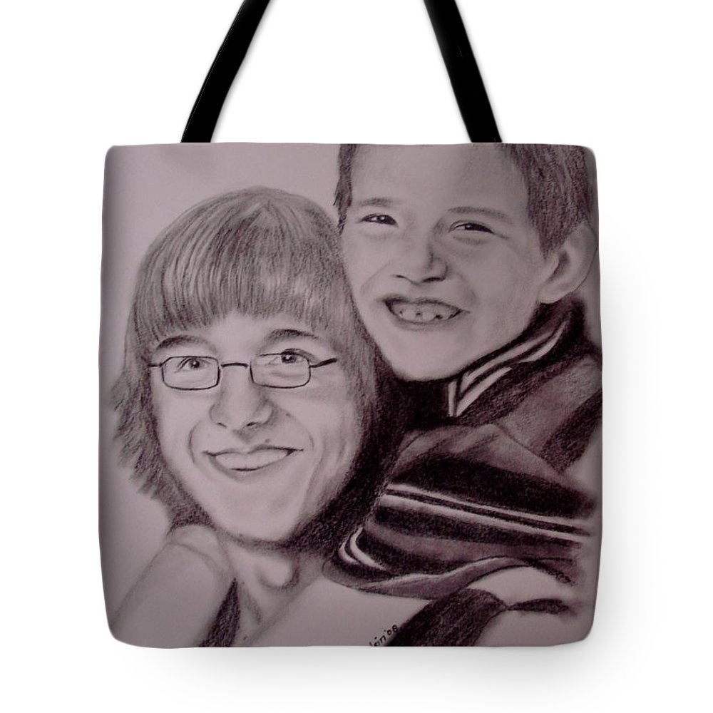 Portrait Tote Bag featuring the drawing Brothers For Life by Glory Fraulein Wolfe