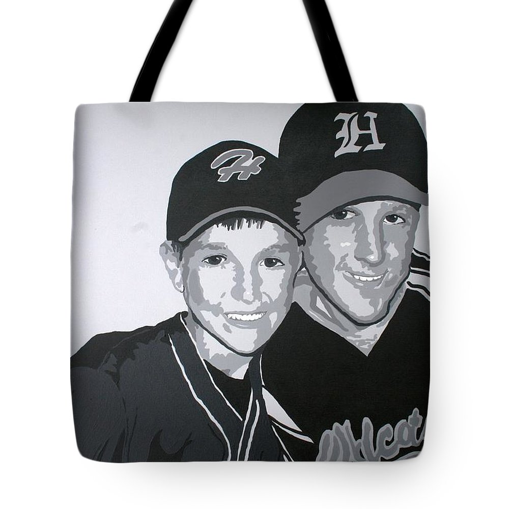 Wildcats Tote Bag featuring the painting Brothers by Melissa Wiater Chaney