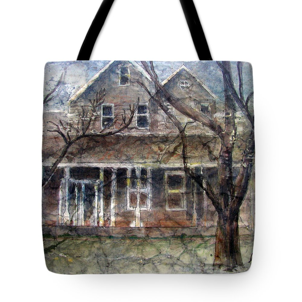 House Tote Bag featuring the mixed media Brown Batik House by Arline Wagner