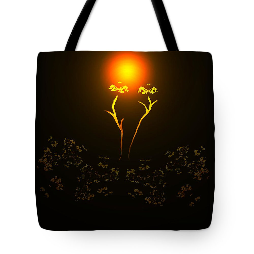 Abstract Digital Art Colorful Print Original Saskatchewan Artist Gold Yellow Brown Orange Collectors Gallery Images Flowers Plants Life Tote Bag featuring the digital art Brown Eyed Susan by Andrea Lawrence