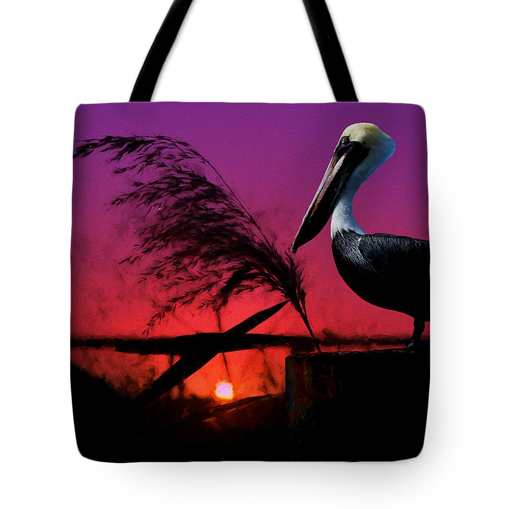 Brown Pelican Tote Bag featuring the painting Brown Pelican At Sunset - Painted by Ericamaxine Price