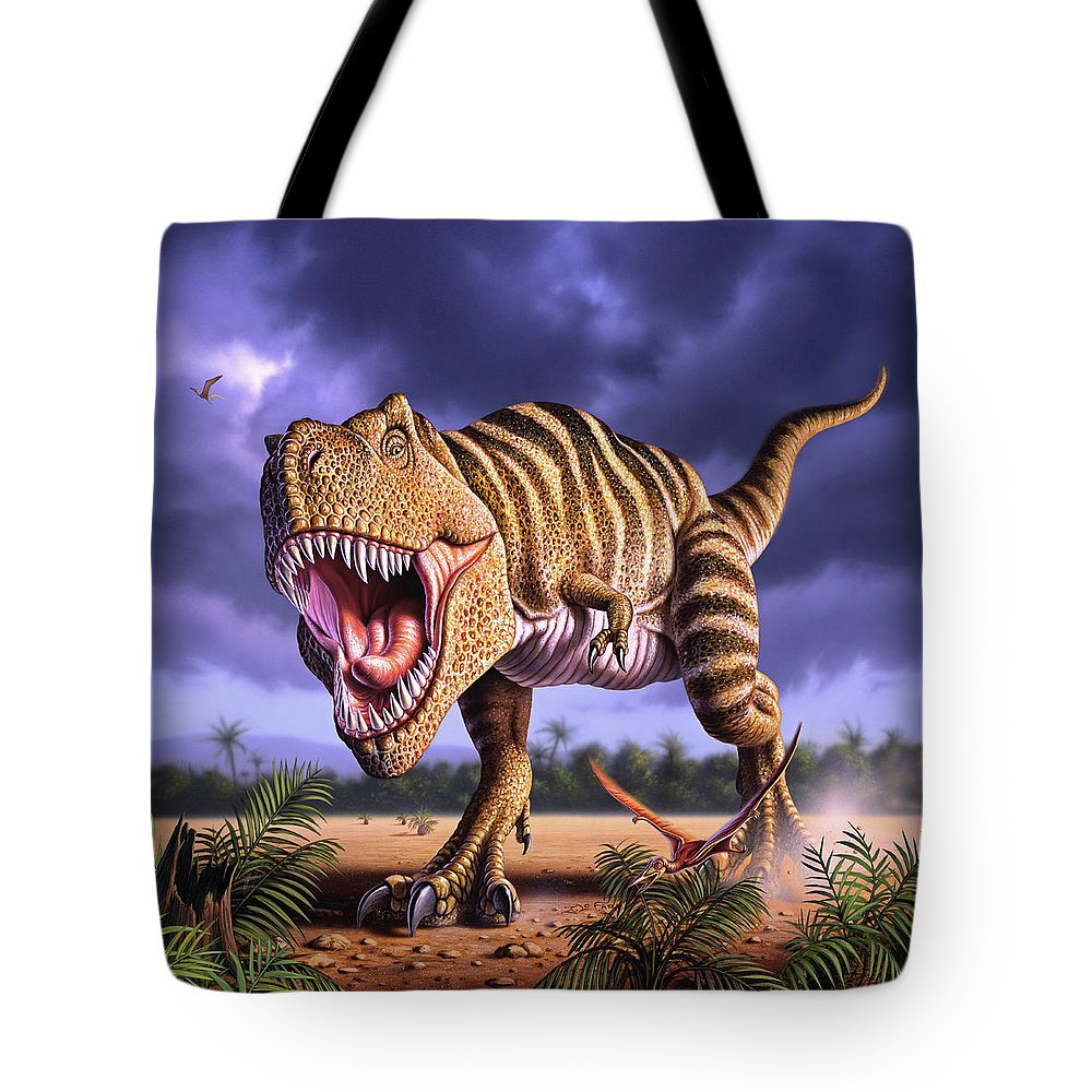 Dinosaur Tote Bag featuring the digital art Brown Rex by Jerry LoFaro