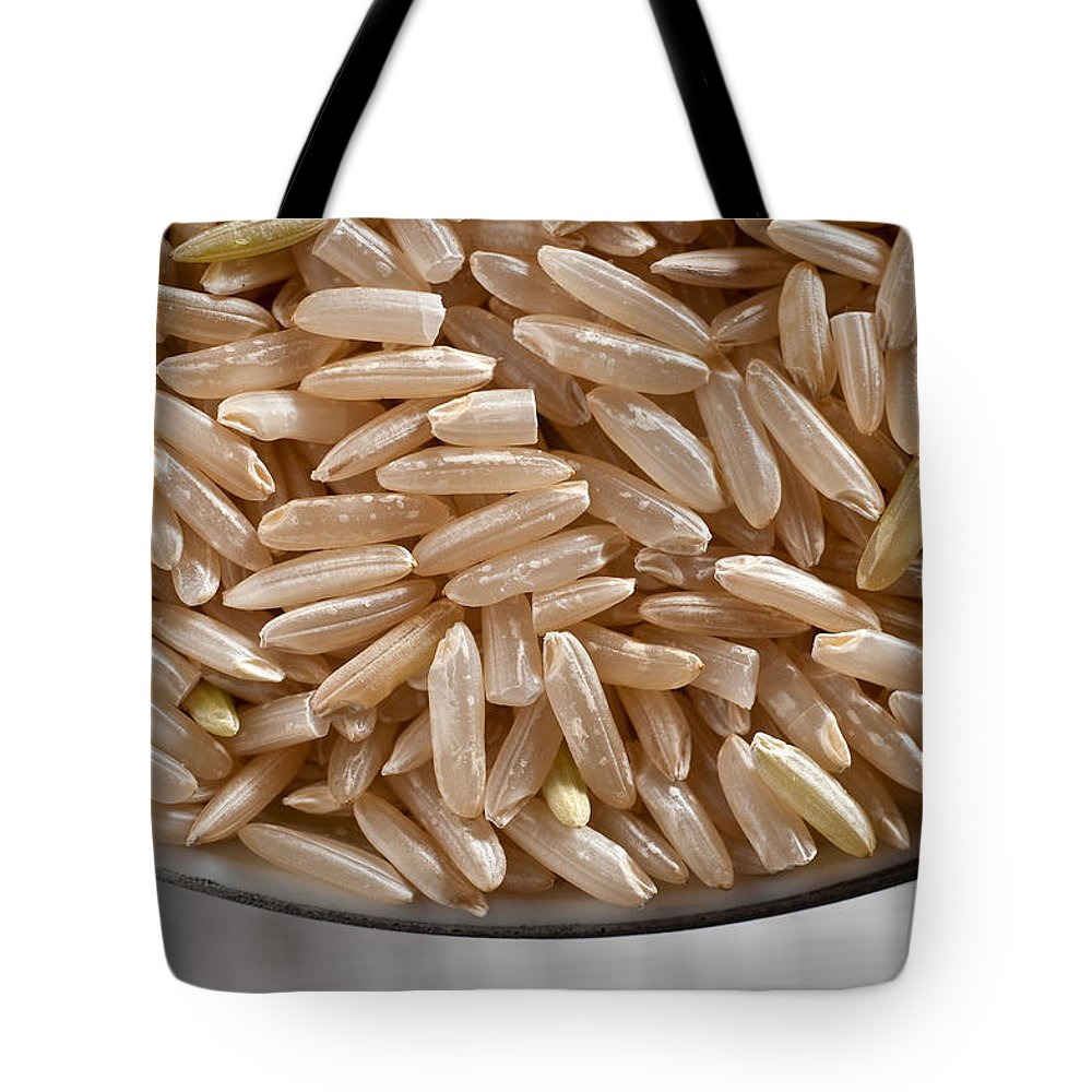 Wild Tote Bag featuring the photograph Brown Rice In Bowl by Steve Gadomski