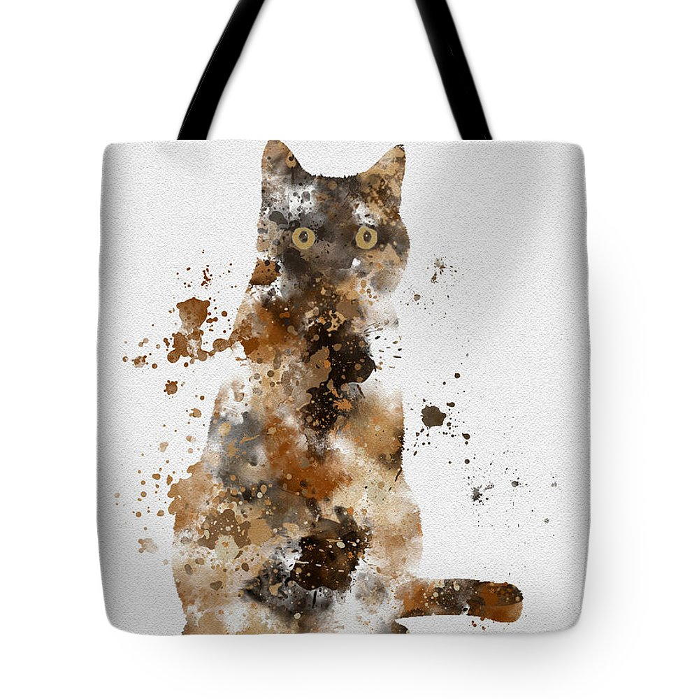 Cat Tote Bag featuring the mixed media Brown Tabby by My Inspiration