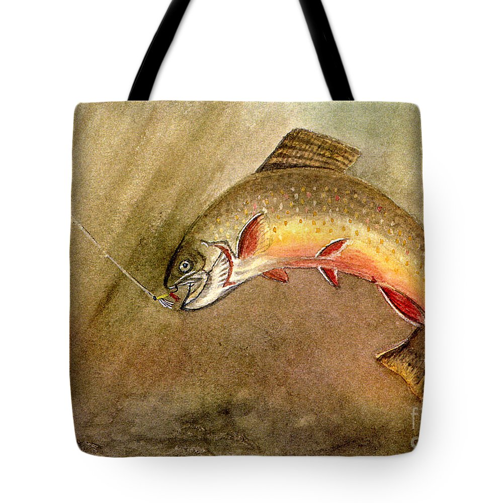 Trout Tote Bag featuring the painting Brown Trout by Mary Tuomi