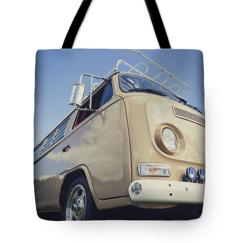 Retro Tote Bag featuring the photograph Brown Vw T2 Camper Van by Richard Nixon