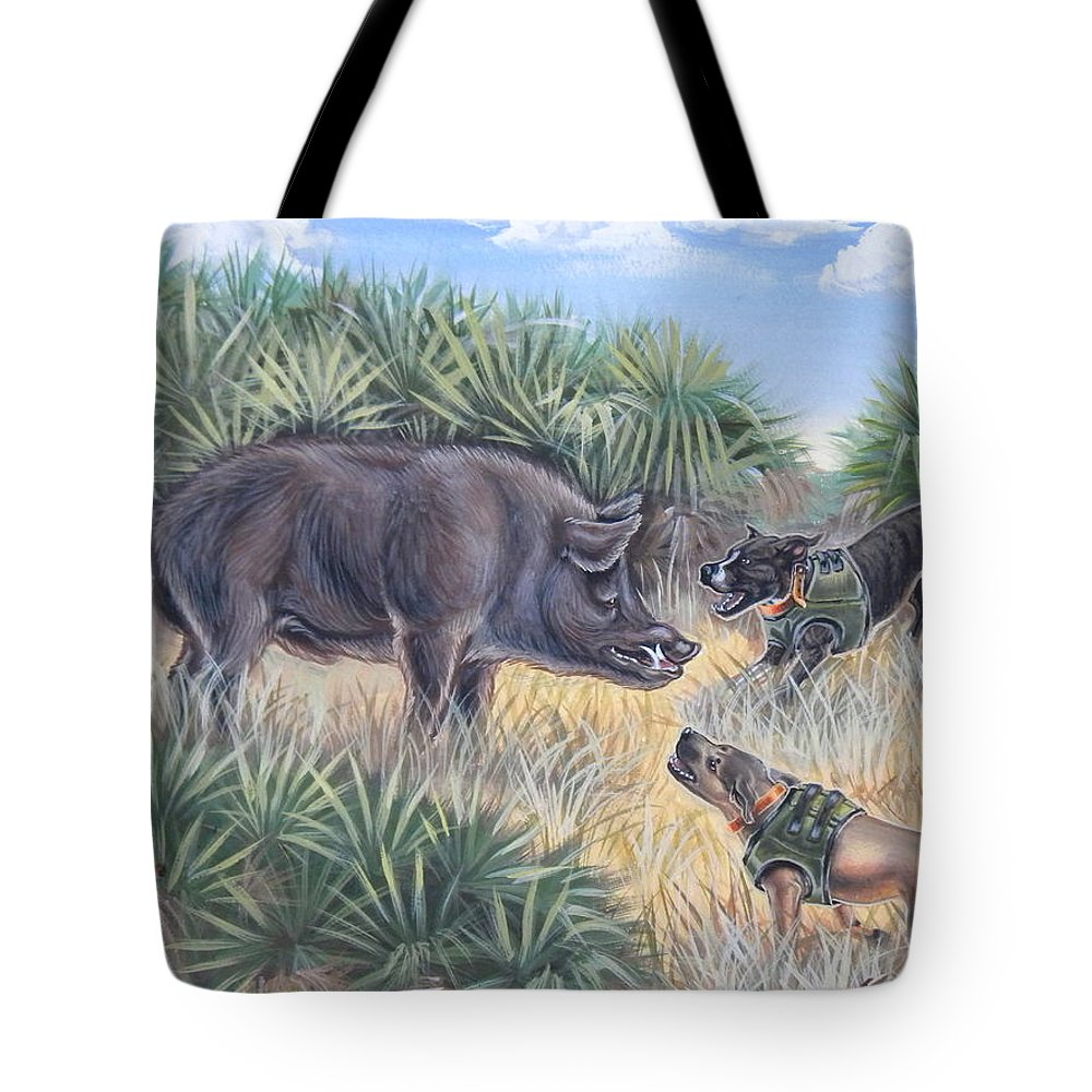 Hog Painting Tote Bag featuring the painting Brownie And Clyde by Monica Turner