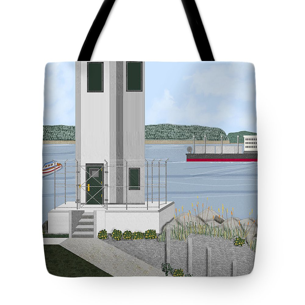 Lighthouse Tote Bag featuring the painting Browns Point Lighthouse On Commencement Bay by Anne Norskog