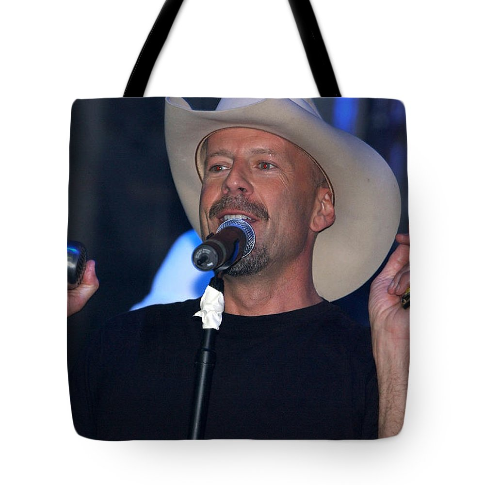 Bruce Willis Tote Bag featuring the digital art Bruce Willis by Lora Battle