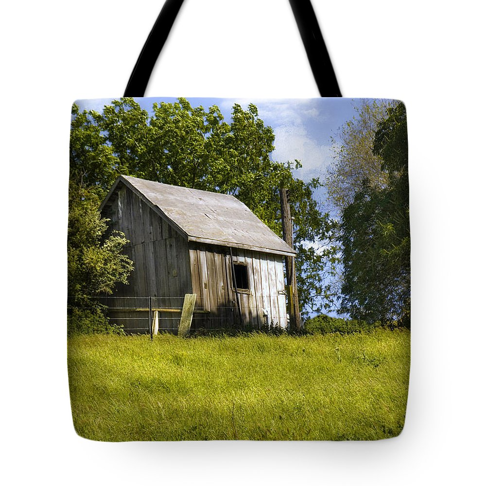 Landscape Tote Bag featuring the photograph Brushy Peak Cabin by Karen W Meyer