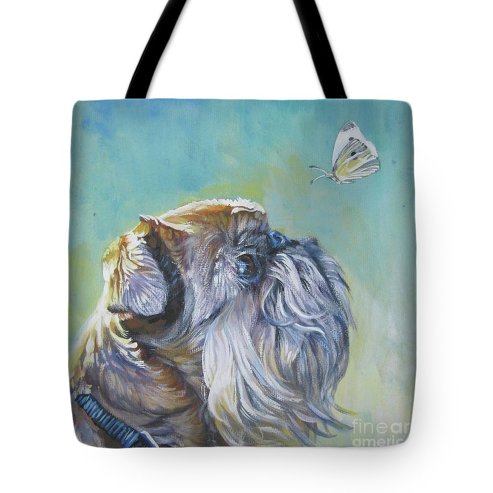 Brussels Griffon Tote Bag featuring the painting Brussels Griffon With Butterfly by Lee Ann Shepard