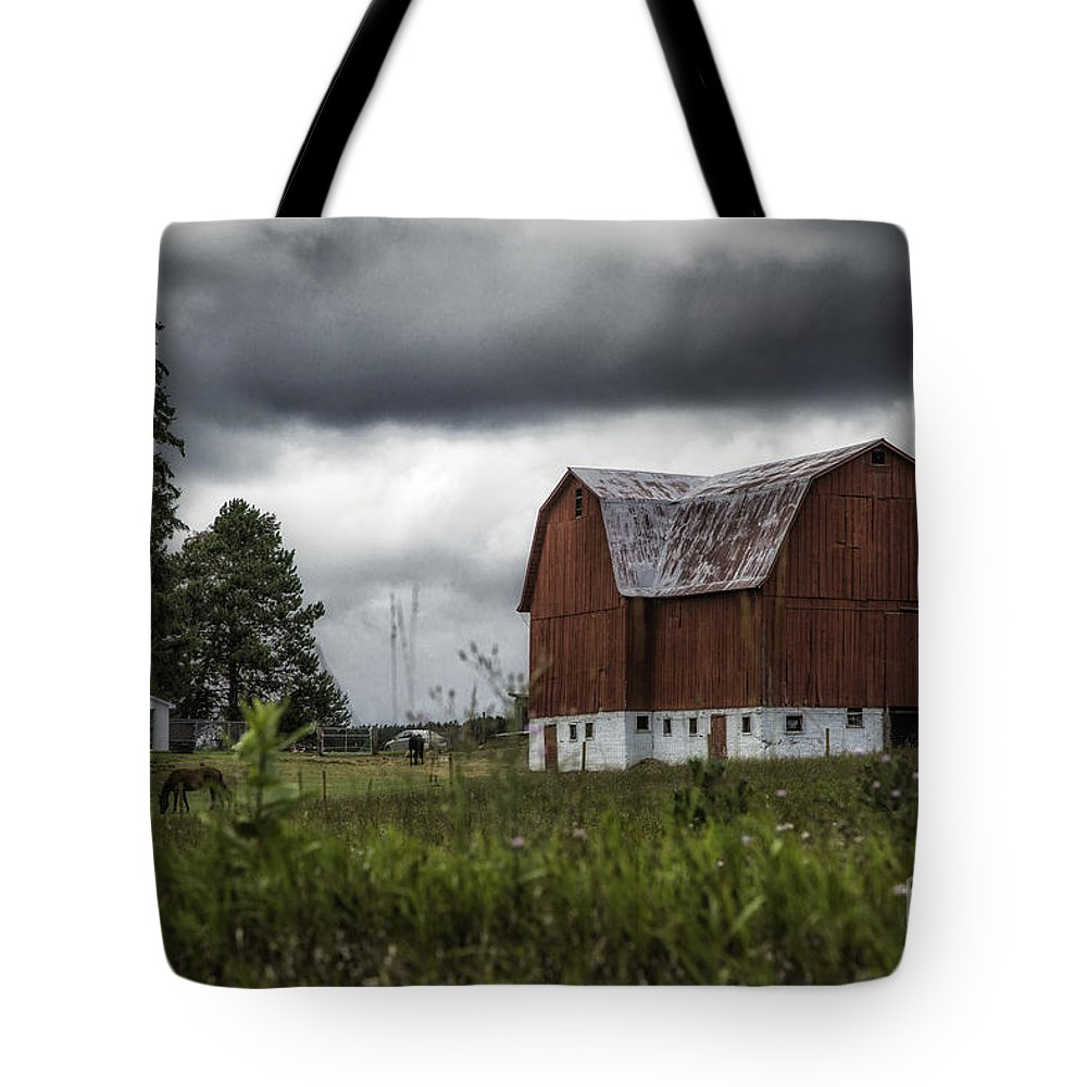 Michigan Tote Bag featuring the photograph Brutus Barn 1 by Timothy Hacker