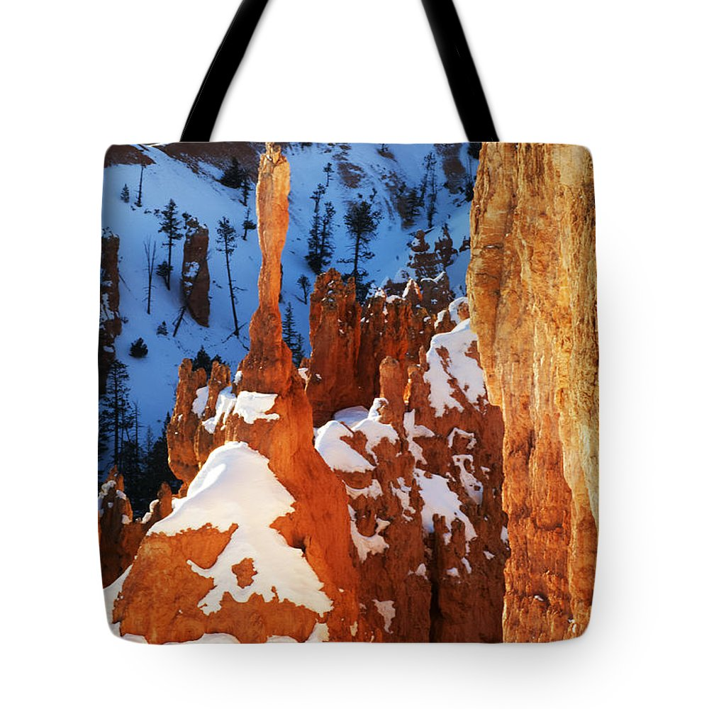 Bryce Tote Bag featuring the photograph Bryce Canyon Winter 4 by Bob Christopher