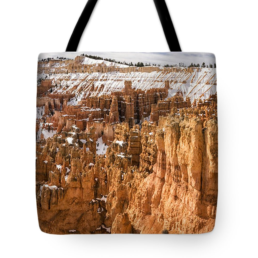 Bryce Tote Bag featuring the photograph Bryce Canyon Winter Panorama - Bryce Canyon National Park - Utah by Brian Harig