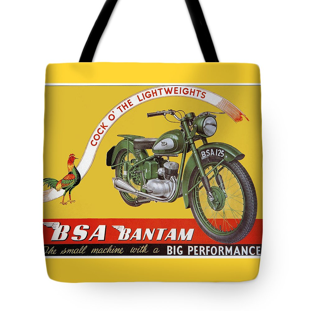 Motorbike Tote Bag featuring the drawing Bsa Bantam Motorcycle by Roger Smith