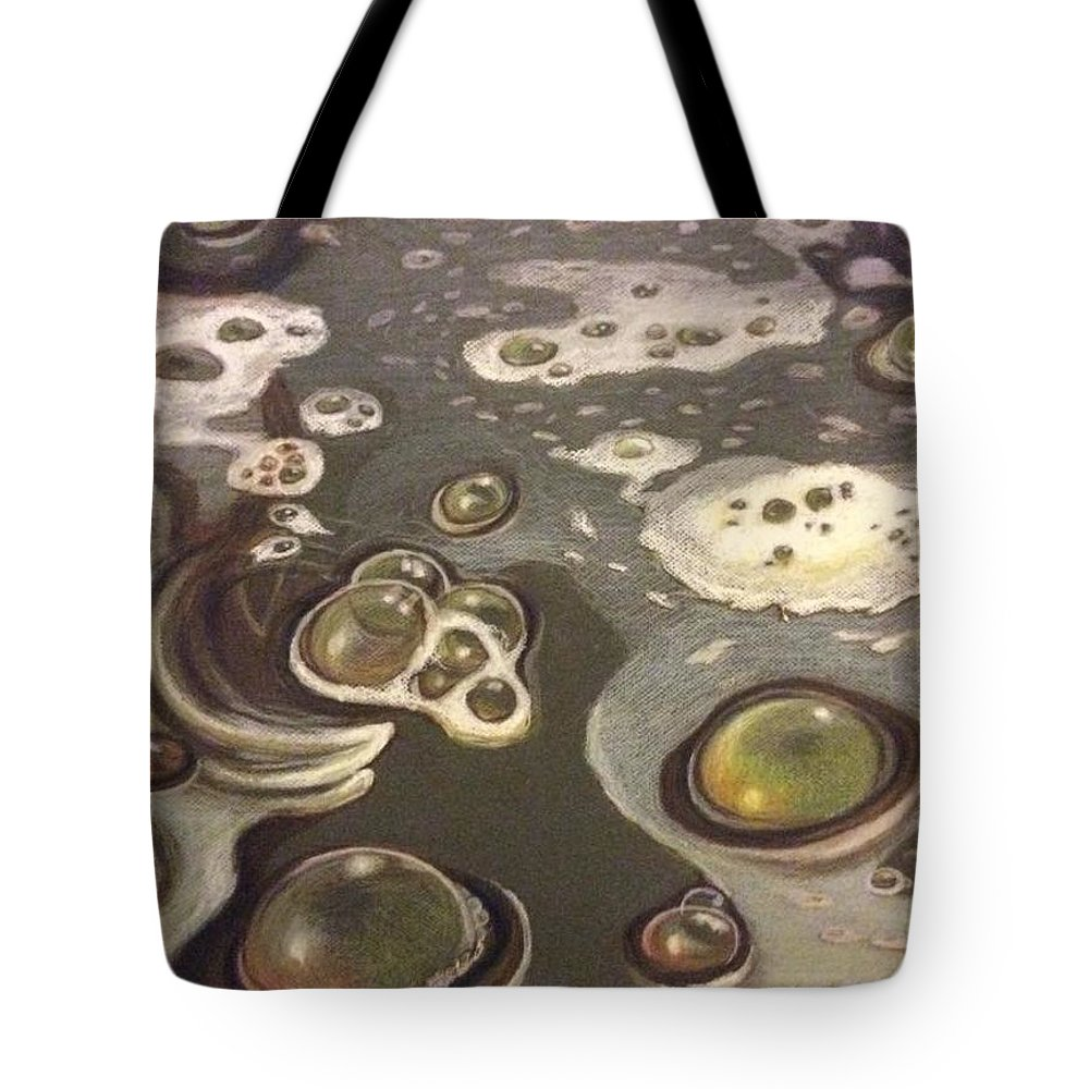 Bubbles Tote Bag featuring the painting Bubble Boil and Trouble 1 by Art Nomad Sandra Hansen