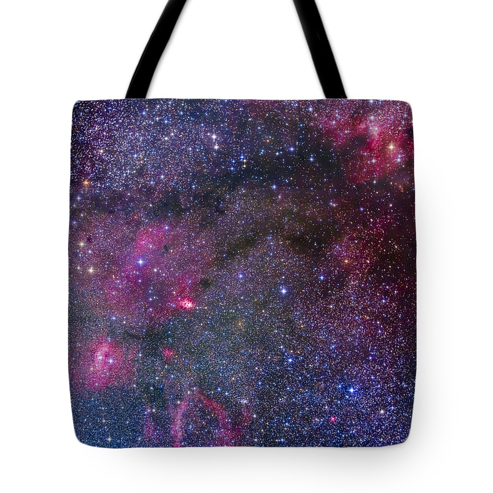 Bubble Nebula Tote Bag featuring the photograph Bubble Nebula And Cave Nebula Mosaic by Alan Dyer