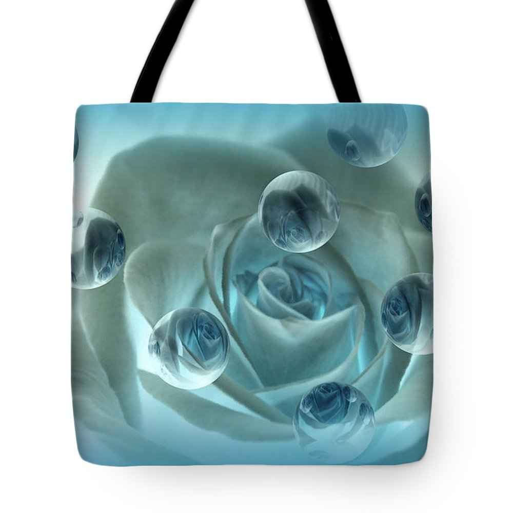 Rose Art Tote Bag featuring the photograph Bubble Rose by Linda Sannuti