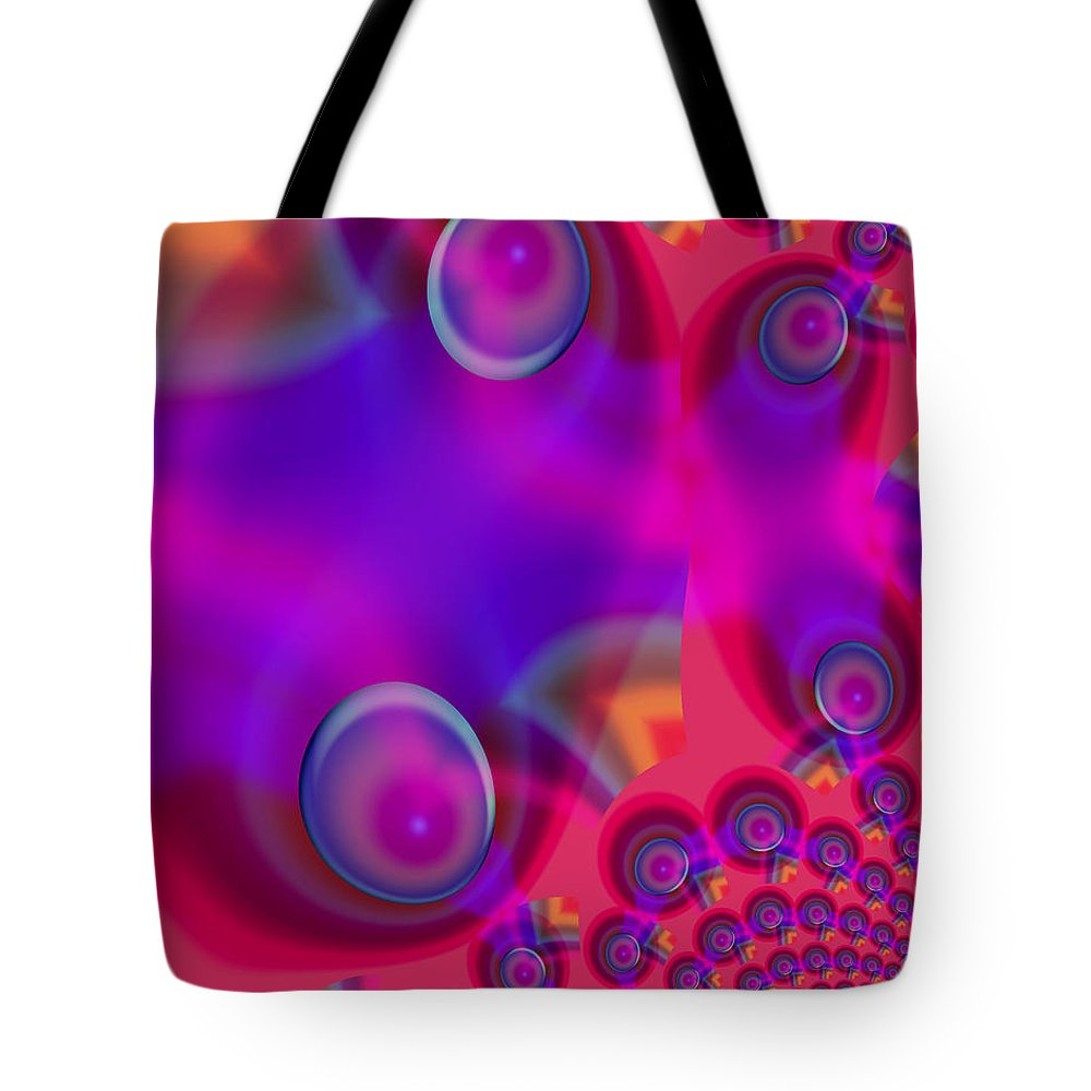 Bubbles Color Colorful Rainbow Pink Blue Yellow Purple Abstract Tote Bag featuring the digital art Bubble Trails by Andrea Lawrence