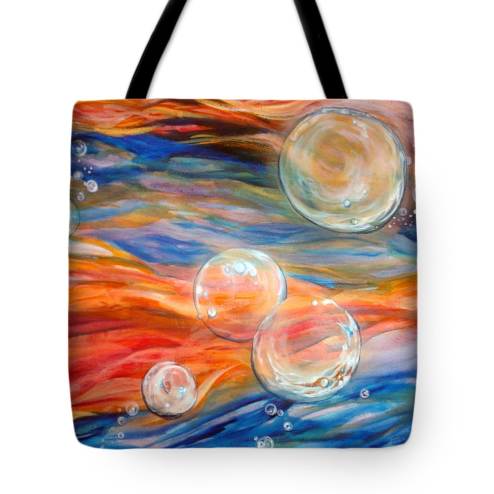 Bubbles Tote Bag featuring the painting Bubbles In Tumult by Cynthia Paul