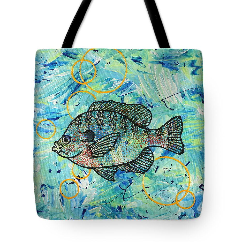 Fish Tote Bag featuring the painting Bubbles 'n Bluegill by Julianne Hunter