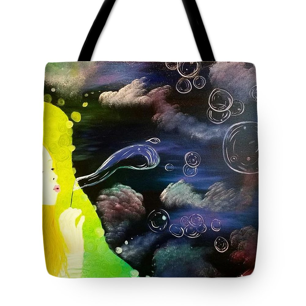 Multiverse Tote Bag featuring the painting Bubbles Of Life by Roxane Gabriel