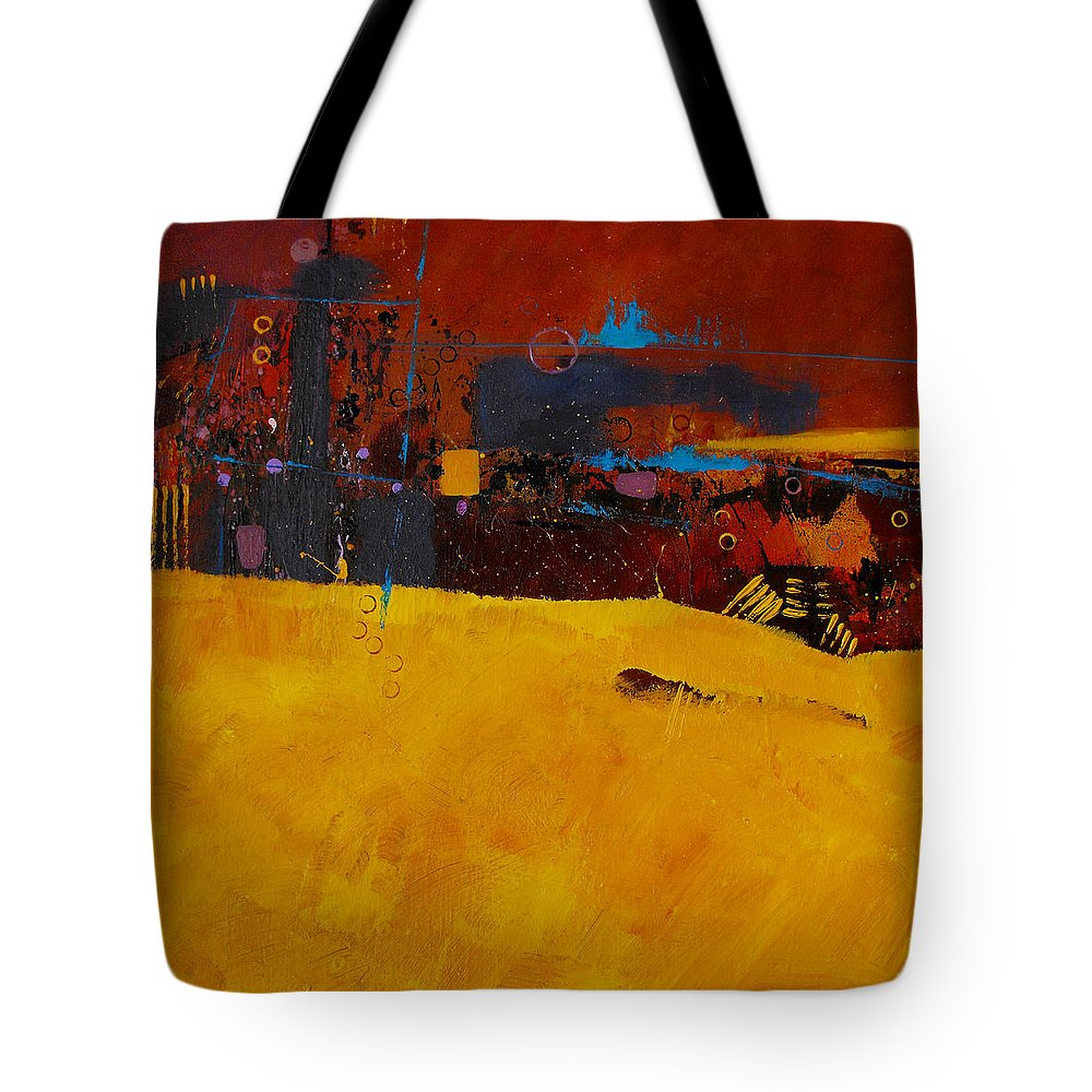ruth Palmer Abstract Color Geometric Circles Irregular Lines Orange Coral Pink Blue Yellow Tote Bag featuring the painting Bubbles Rising by Ruth Palmer