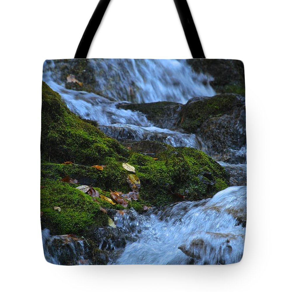Mingo Falls Tote Bag featuring the photograph Bubbling Waterfall by Robin Erisman