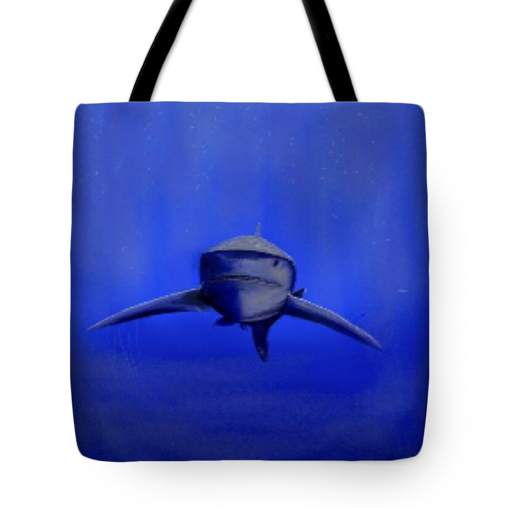 Shark...underwater...reef ....great White Tote Bag featuring the digital art Bubblova by Michael Schimank