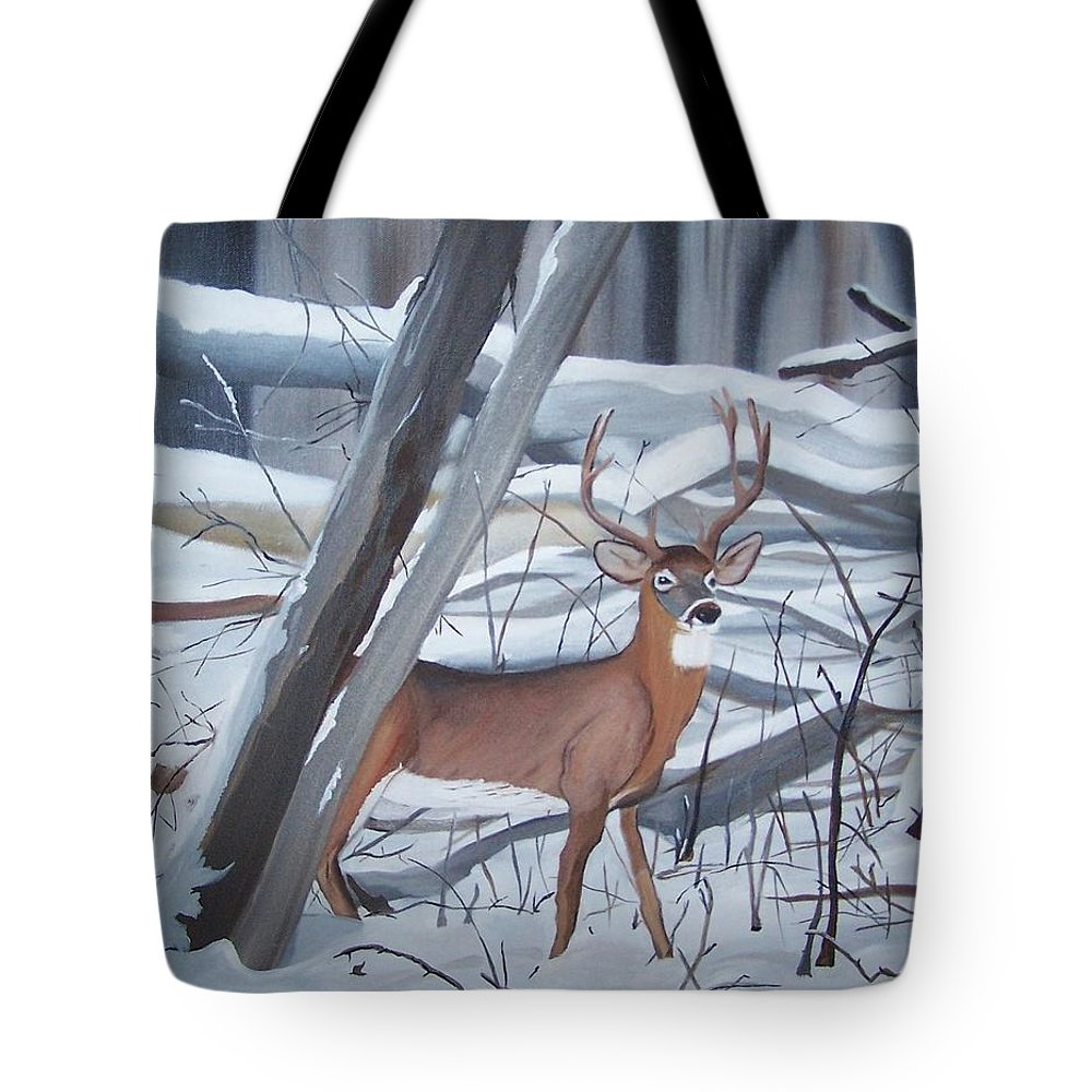 Snow Tote Bag featuring the painting Buck In The Snow by Dolores Brittain