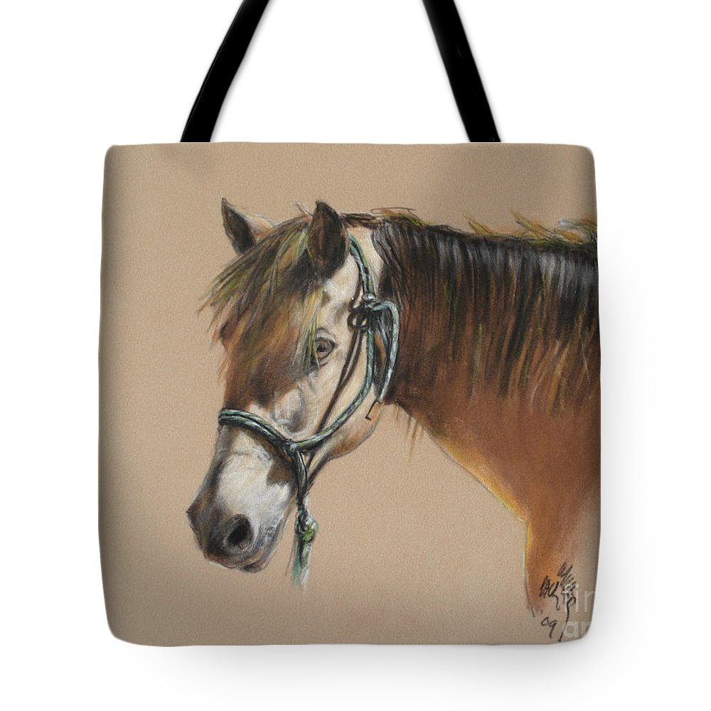 Morgan Horse Tote Bag featuring the painting Buck Of The Morgan Horse Ranch Prns by Paul Miller
