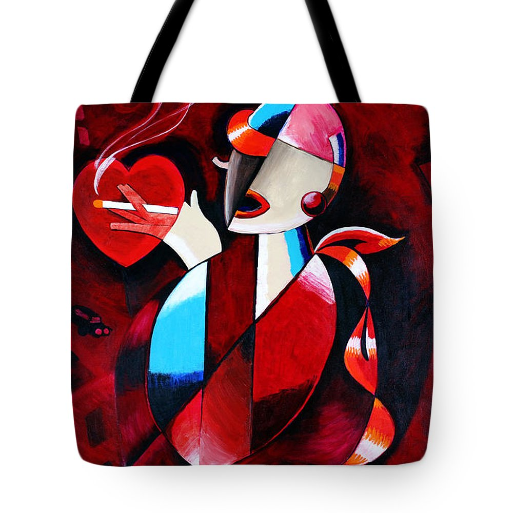 Woman Tote Bag featuring the painting Buck Slims Cigarettes by Thom Reaves