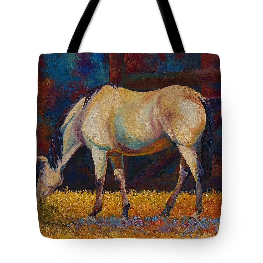 Horses Tote Bag featuring the painting Buckskin by Marion Rose