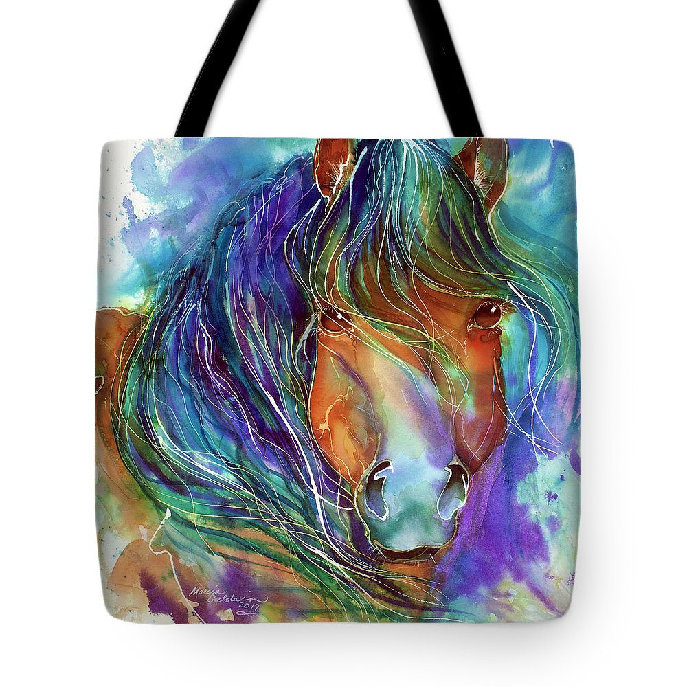 Equine Tote Bag featuring the painting Bucky The Mustang In Watercolor by Marcia Baldwin