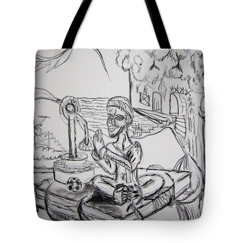 Buddha Tote Bag featuring the drawing Buddha Basking by Timothy Michael Foley