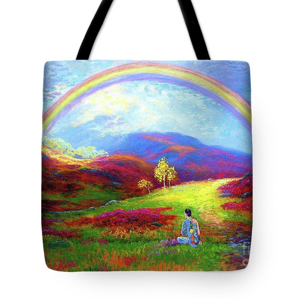 Meditation Tote Bag featuring the painting Buddha Chakra Rainbow Meditation by Jane Small